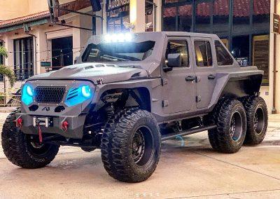 custom jeep 6x6 at The Galleria
